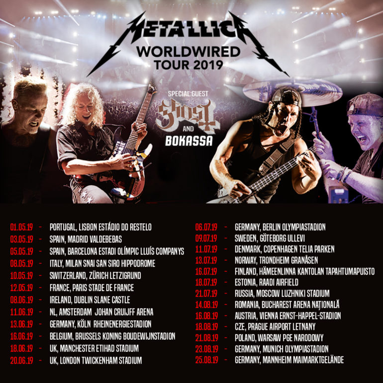 Metallica announce European tourdates 2019. Amsterdam on June 11th.